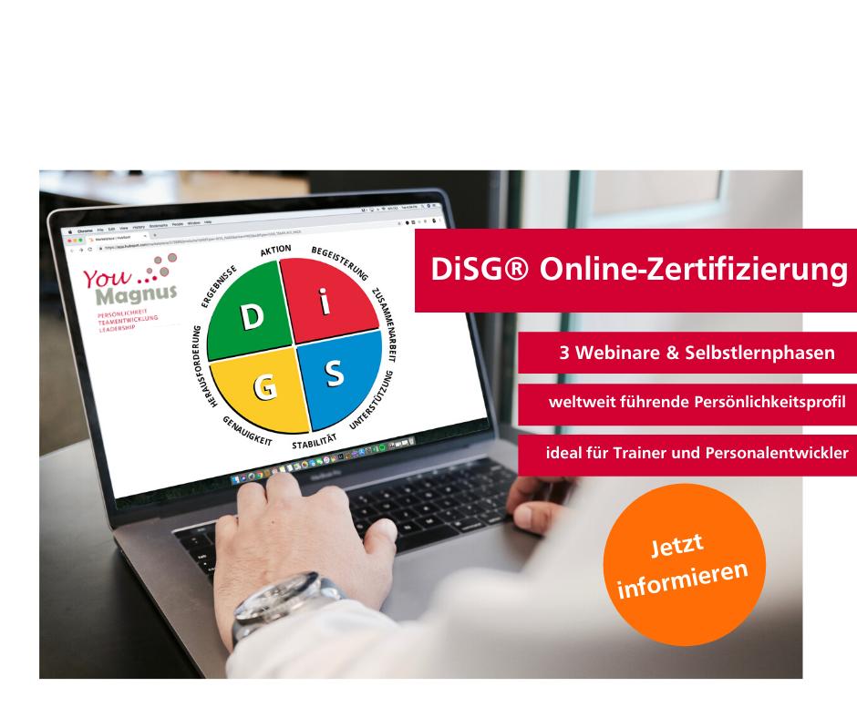 Weiterbildung zum DiSG® zertifizierten Trainer/Personalentwickler – online!
